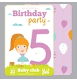 Birthday Party Invitation card template with cute vector image