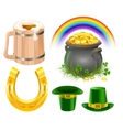 Patricks Day Symbols Mug of irish beer rainbow vector image