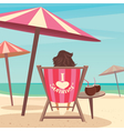 Girl sunbathes on the beach vector image