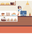 bakery shop interior with glass showcase full of vector image