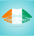 cote d ivoire flag lipstick on the lips isolated vector image