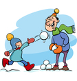 dad and son on winter cartoon vector image