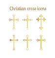 Golden cross icons set vector image