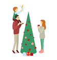 spruced christmas tree family decoration - dad vector image