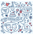 Valentine doodle set drawn on notebook paper vector image