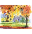 Watercolor autumn park yellow trees vector image