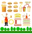 Set of fast food objects for your design vector image