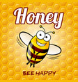 a friendly cute bee with smile on honey background vector image vector image