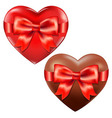 Hearts With Red Bow vector image vector image