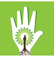 Victory hand make tree inside the tree vector image