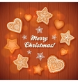 Christmas gingerbread stars and hearts greeting vector image vector image