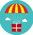 Gift box flying on parachute delivery service vector image