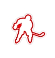paper sticker Canadian hockey player on white vector image
