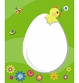 easter card egg with breaking chick vector image vector image