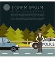 Police on the road Banner1 vector image