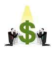 Businessman praying to dollar Financial idol vector image