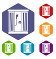 shower cabin icons set vector image