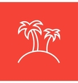 Two palm trees on island line icon vector image