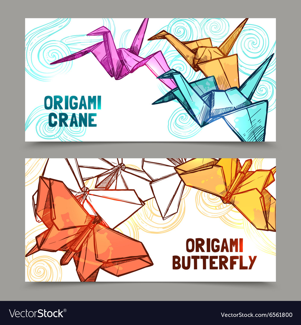 Origami butterflies and cranes banners set vector