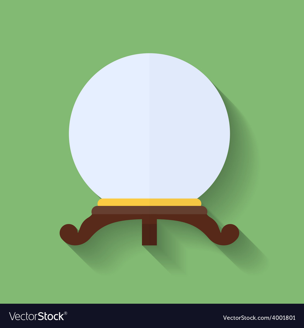 Icon of crystal ball or crystal sphere flat style vector