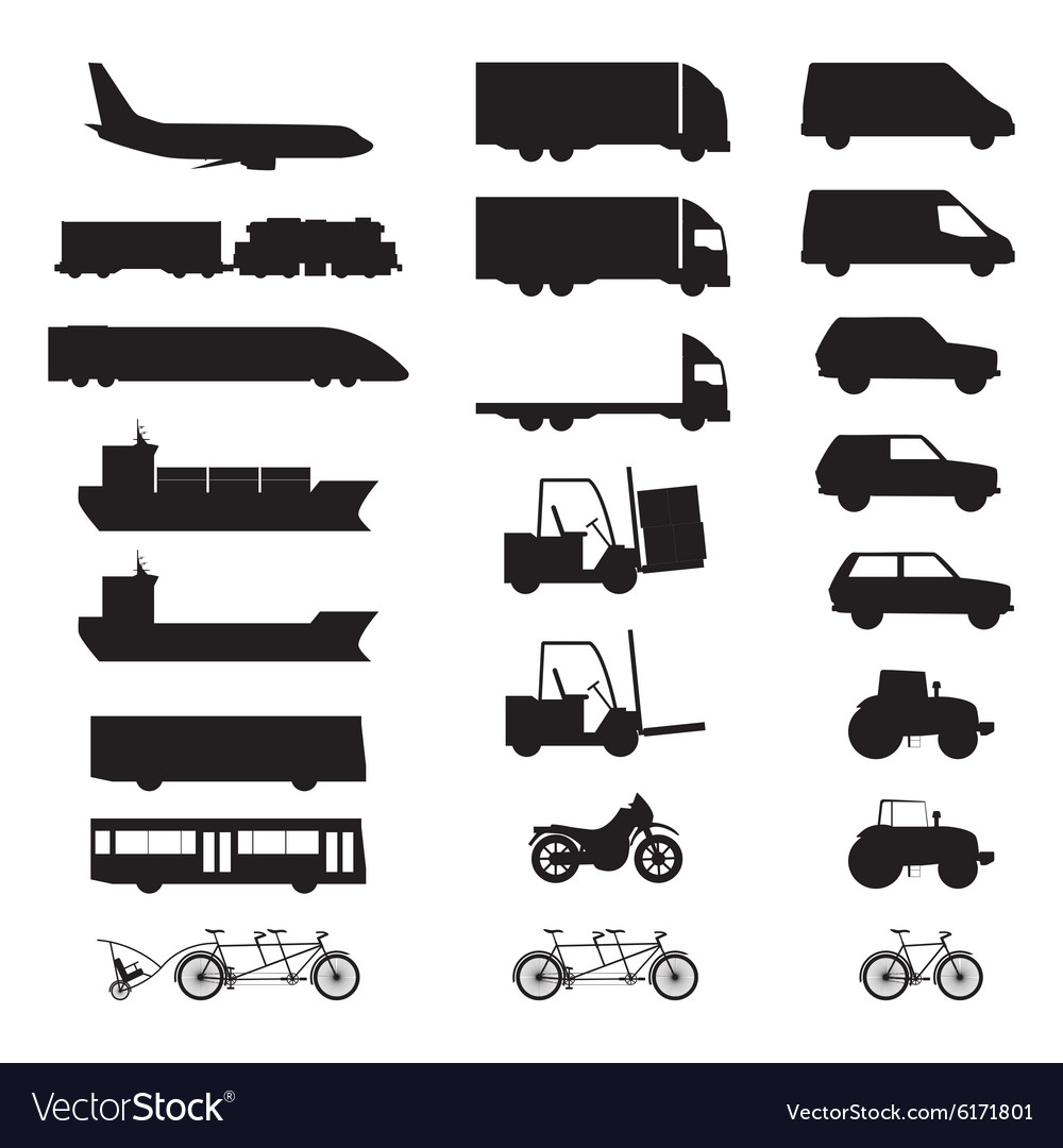 Silhouettes of various vehicles vector