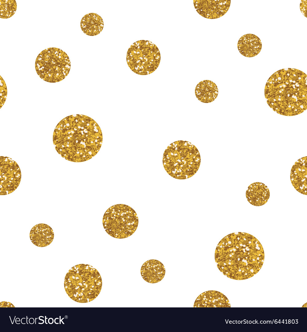 Dots seamless pattern with golden glitter texture vector