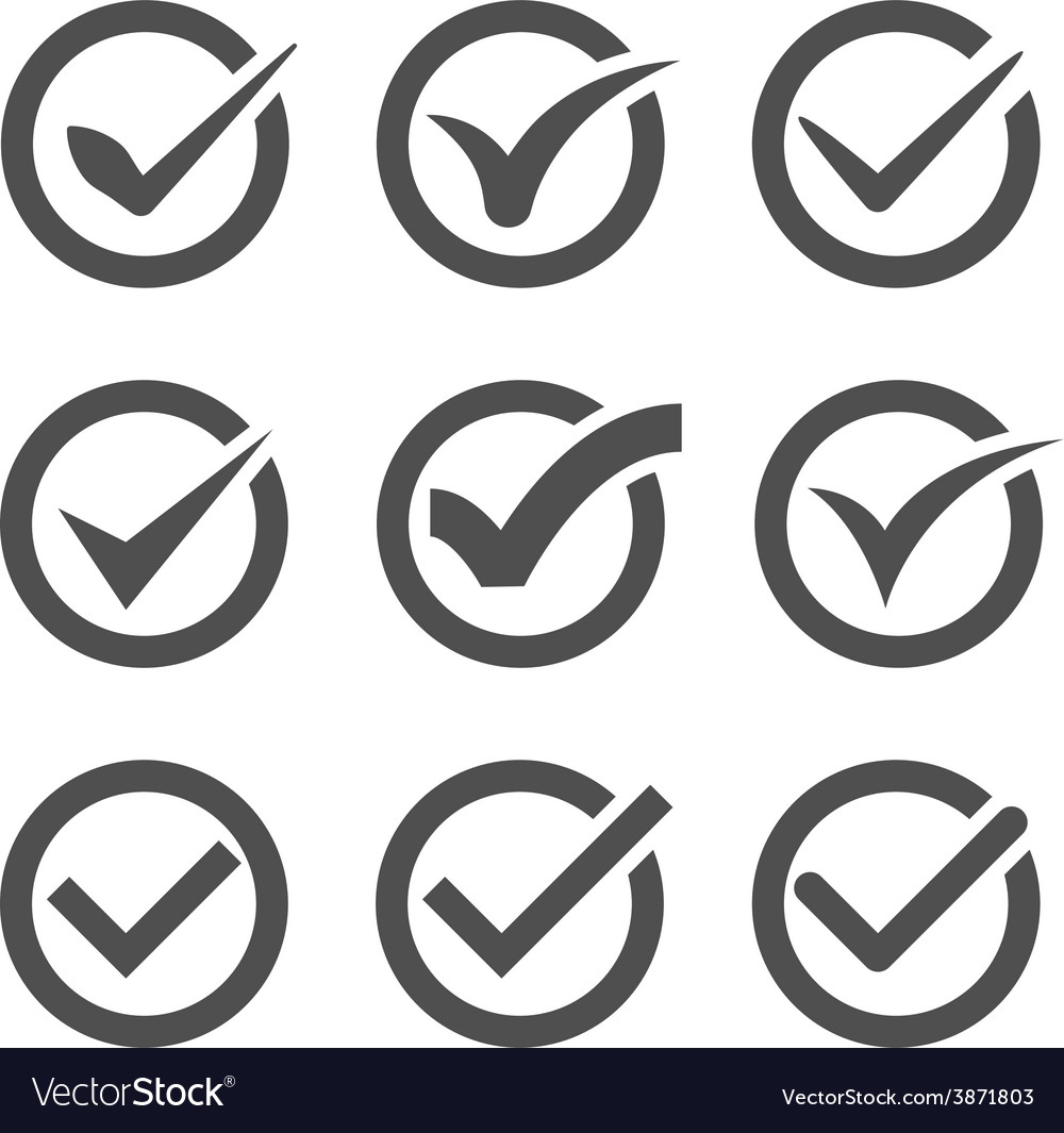 Grey check marks or ticks in circles vector