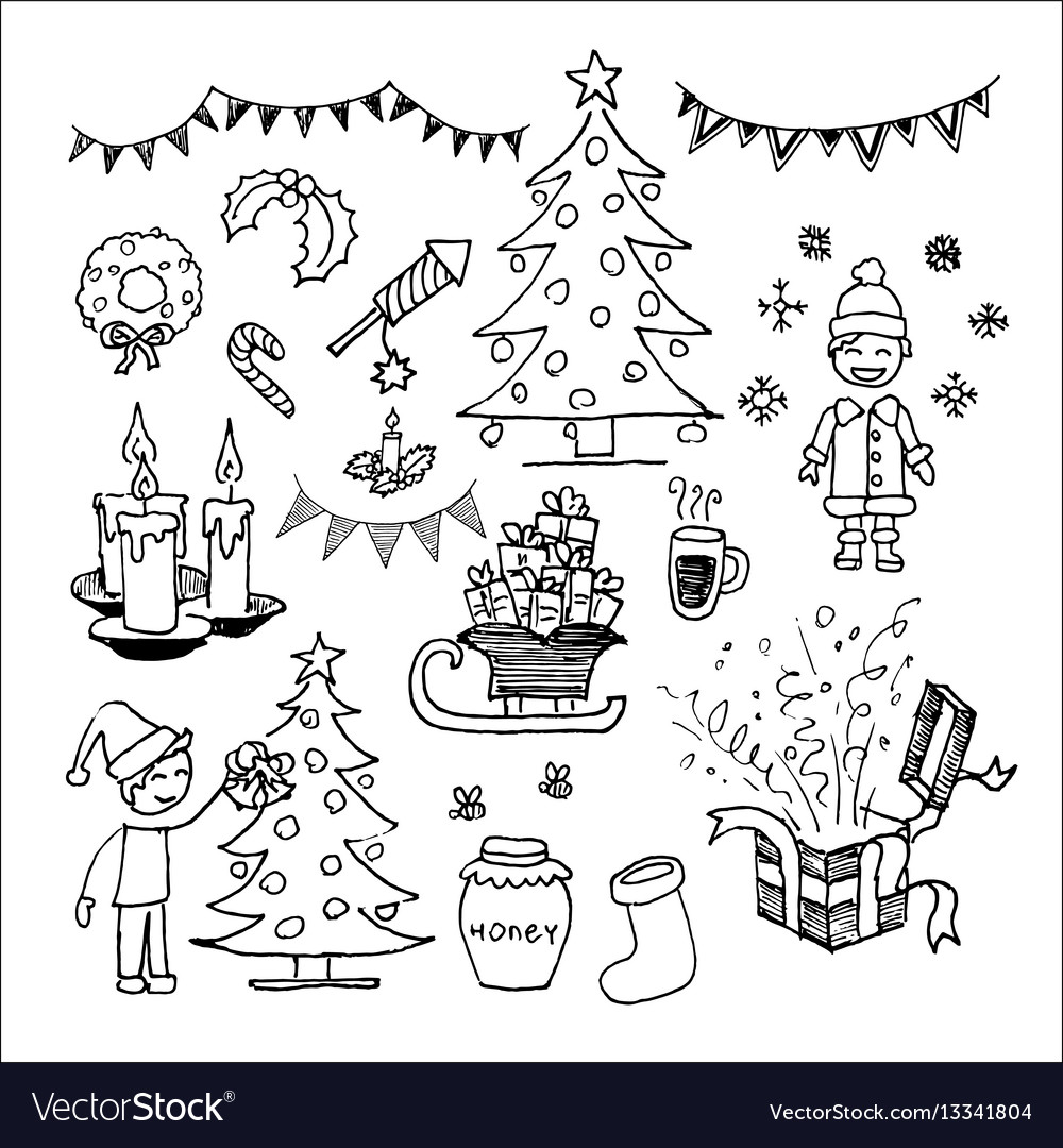 Christmas icons and elements set vector