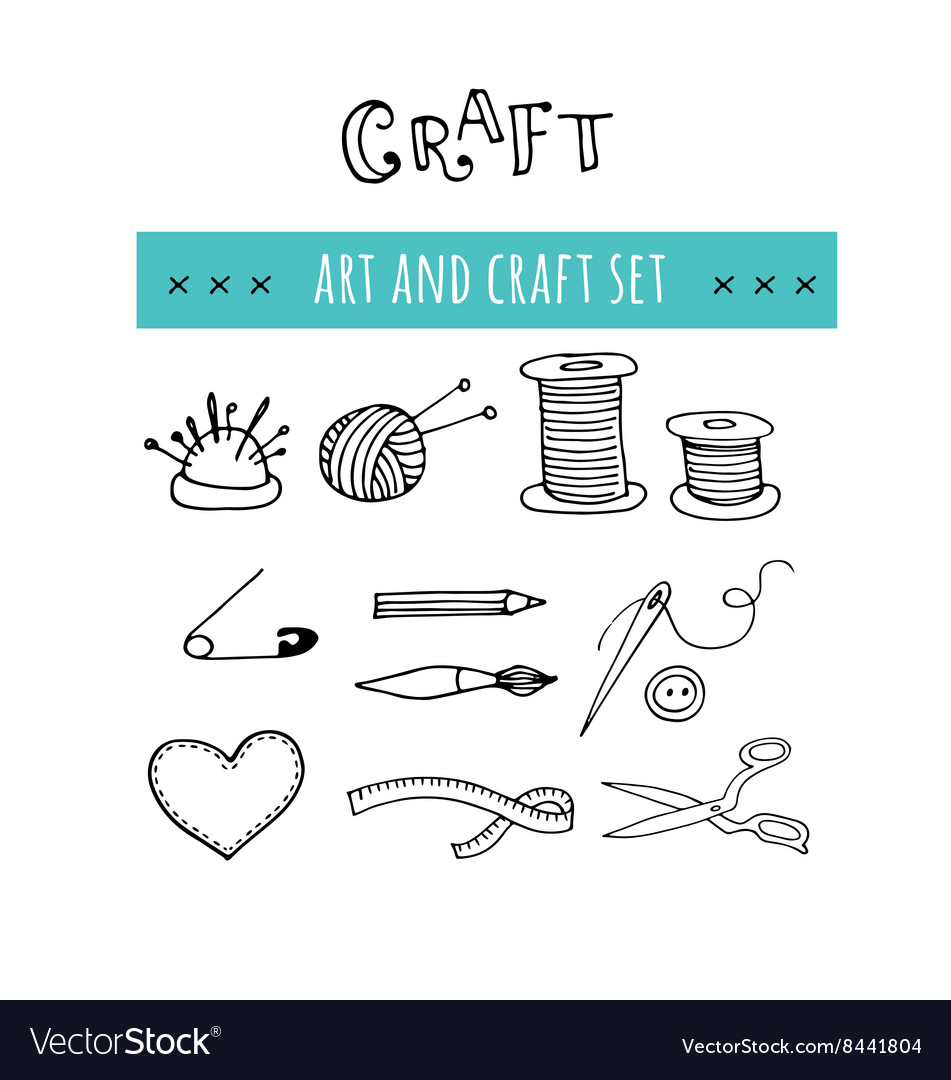 Handmade crafts workshop icons hand drawn vector