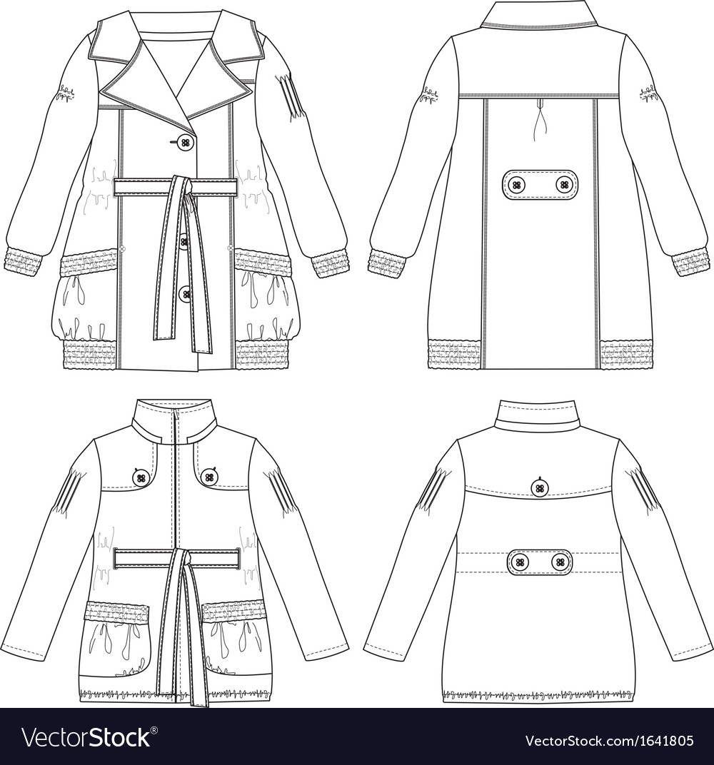 Girls coat and jacket vector