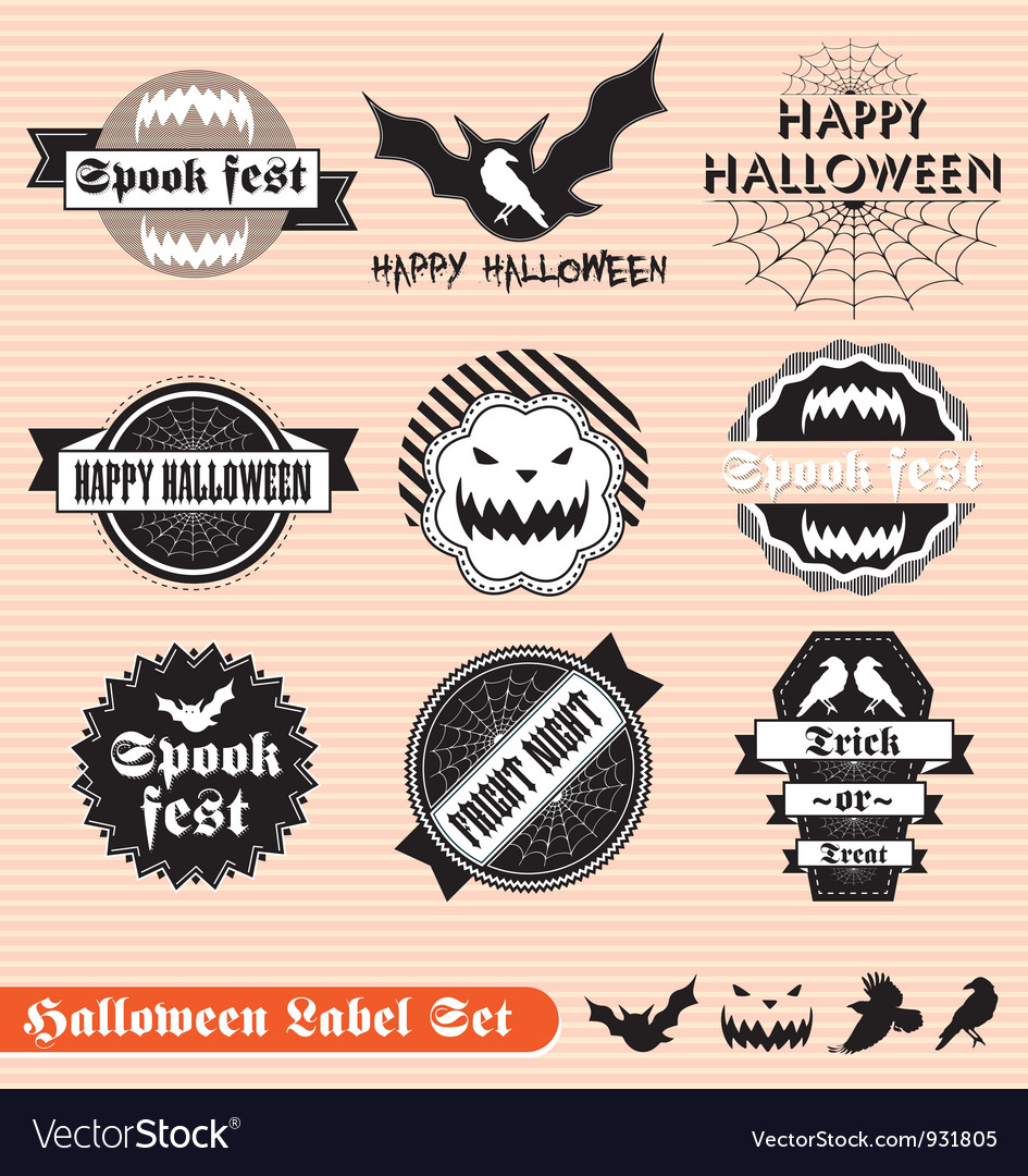 Halloween labels set vector