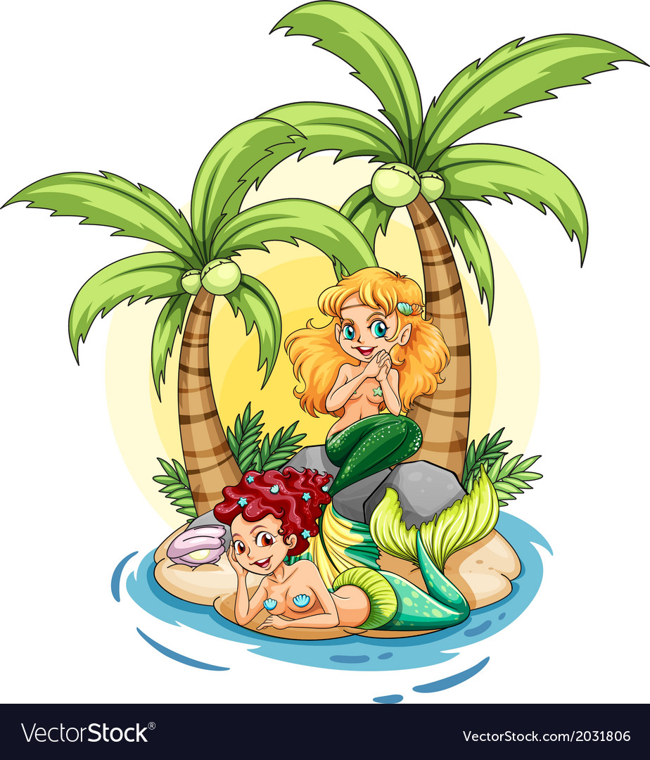 An island with two mermaids vector