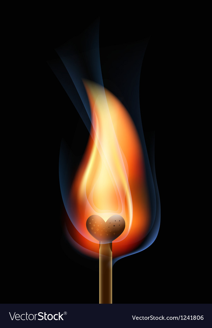 Burning match in the form of heart vector