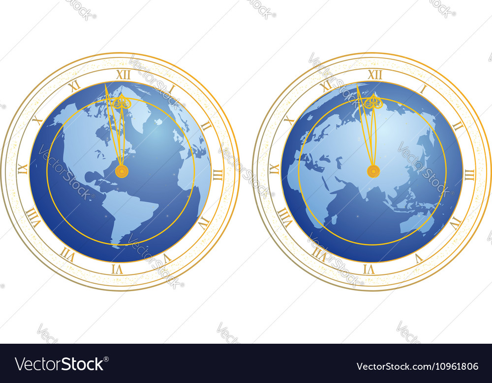 Clock as globe vector