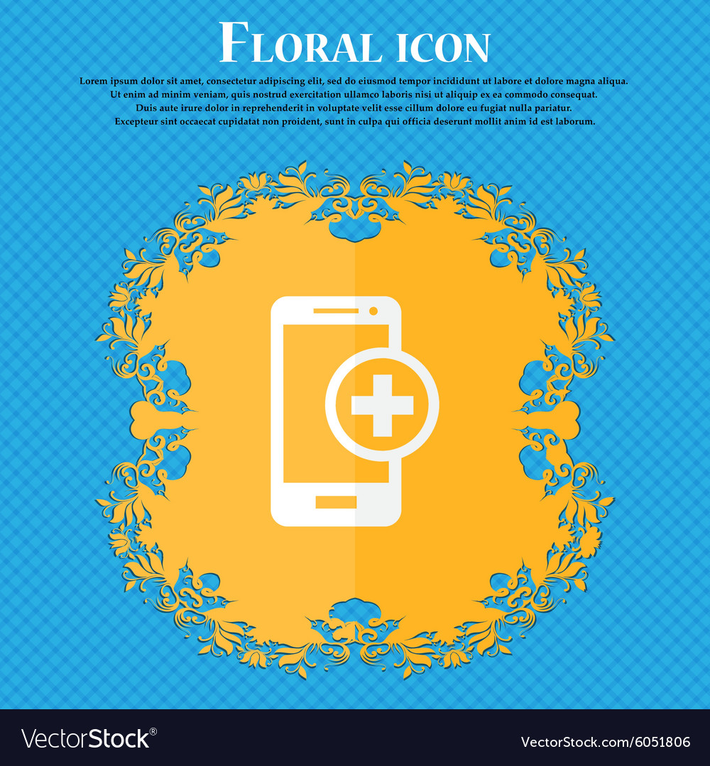Mobile devices sign icon with symbol plus floral vector