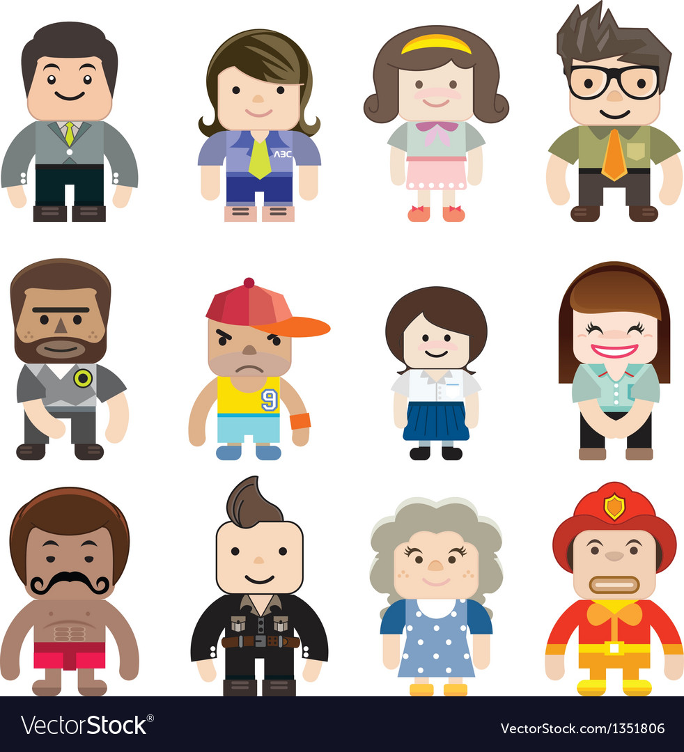 Series of cute characters occupations icons vector
