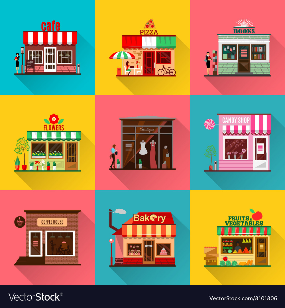 Set of flat shop building facades icons with vector