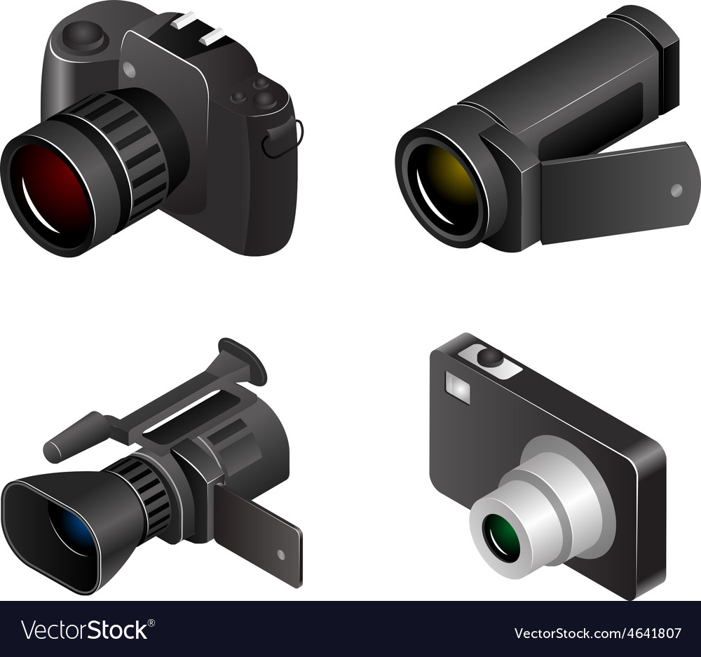 Camera photos and videos 3d realistic vector