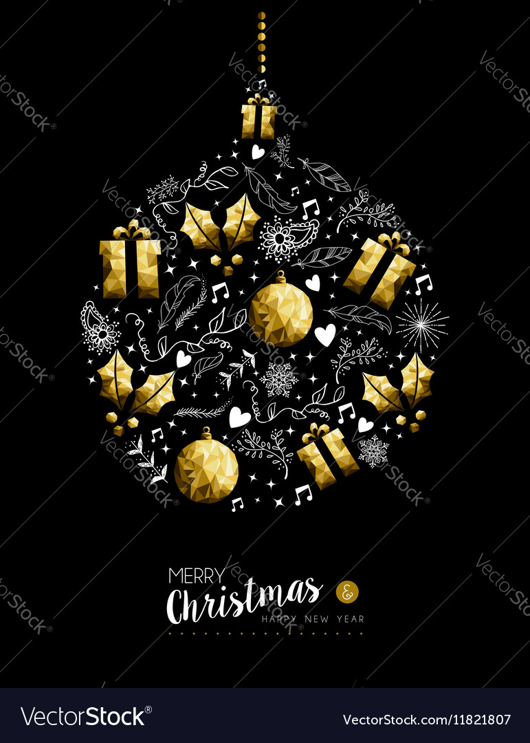 Gold christmas and new year bauble decoration vector