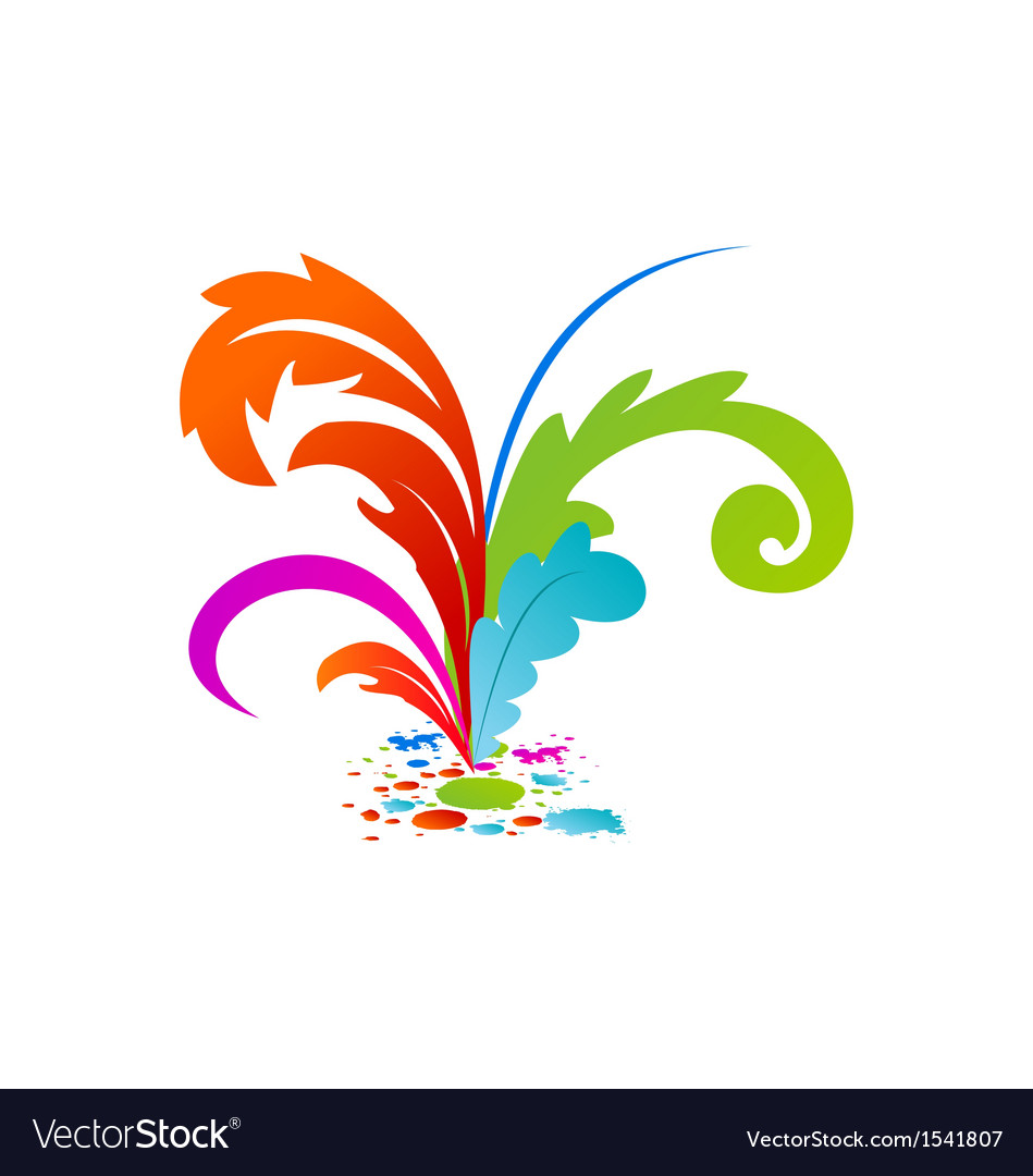 Group colourful artistic feathers with ink vector