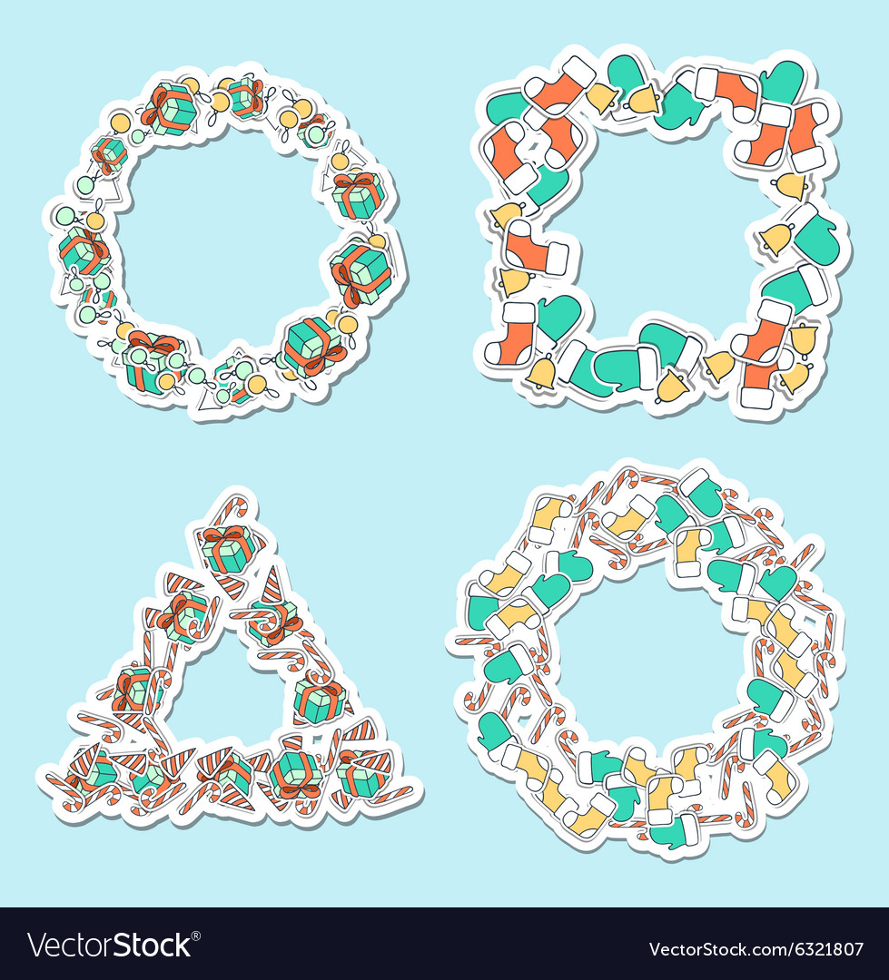 Set 4 christmas framework from festive elements vector
