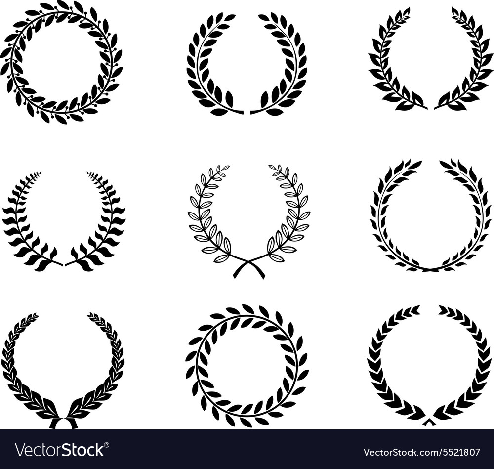 Set silhouette circular laurel foliate and wheat vector