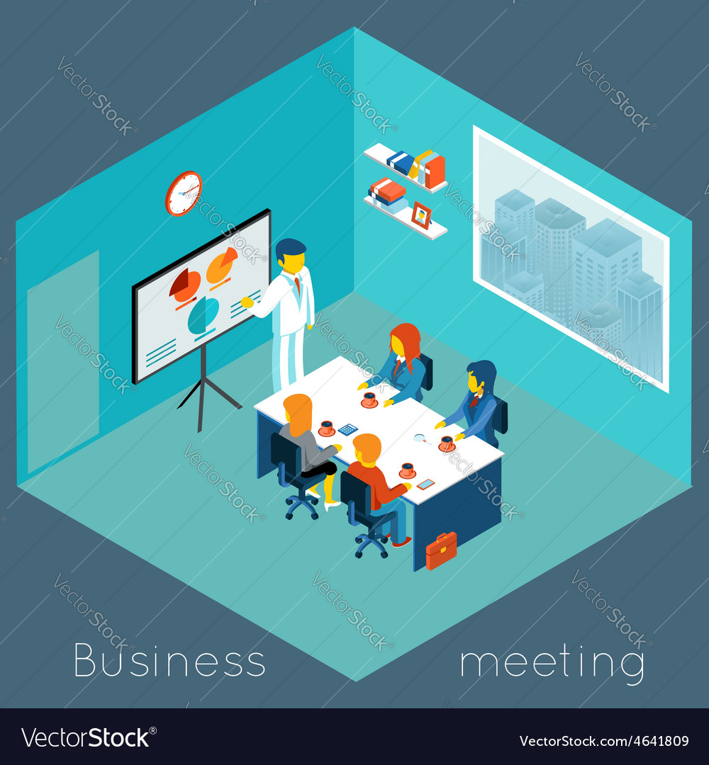 Isometric 3d business meeting vector