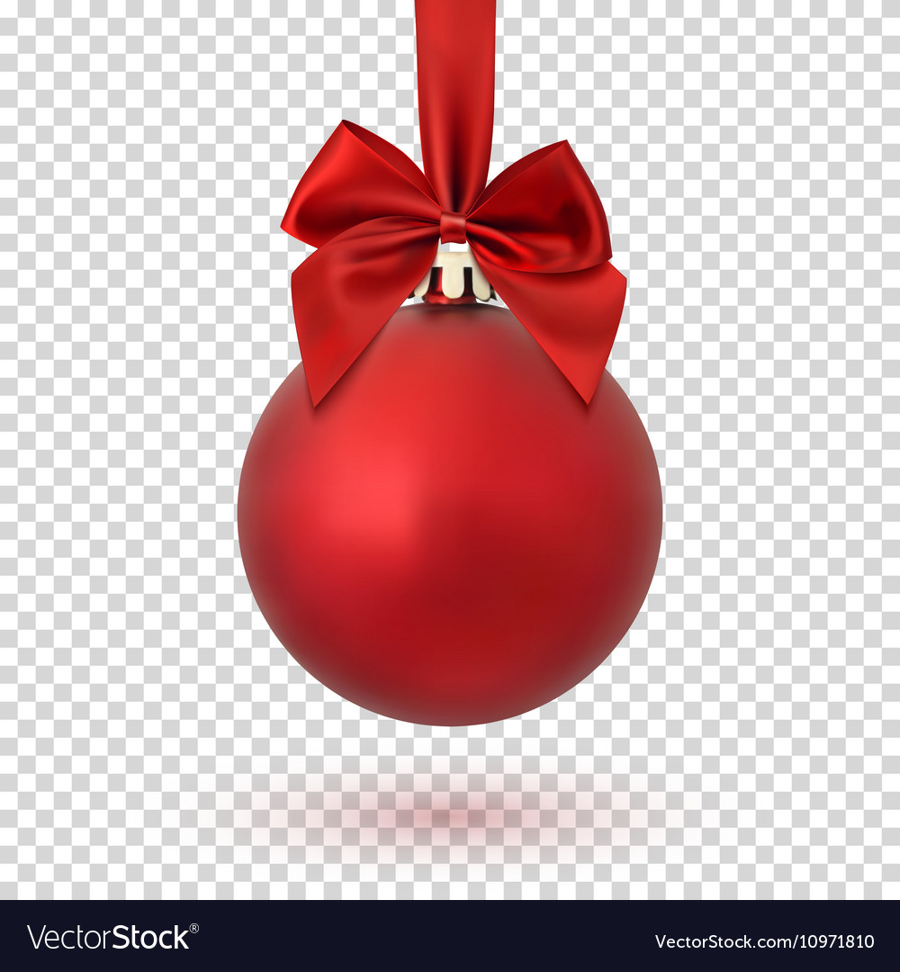Red christmas ball on transparent background vector