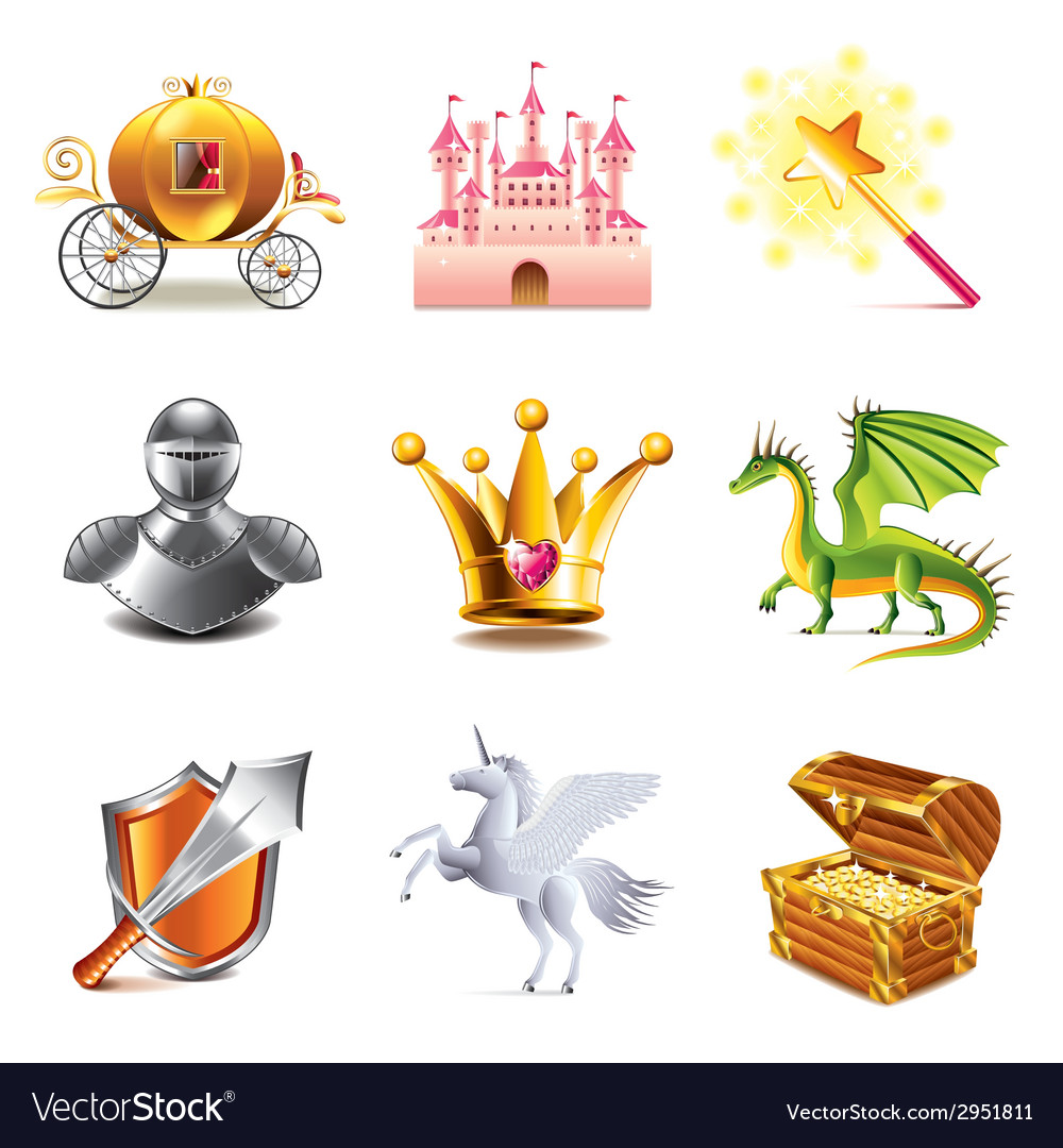 Fairy tail icons vector