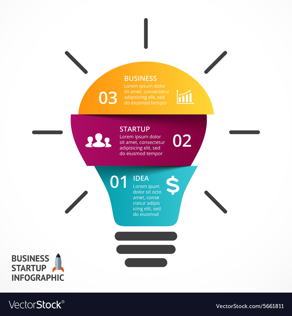 Light bulb infographic template for lamp vector