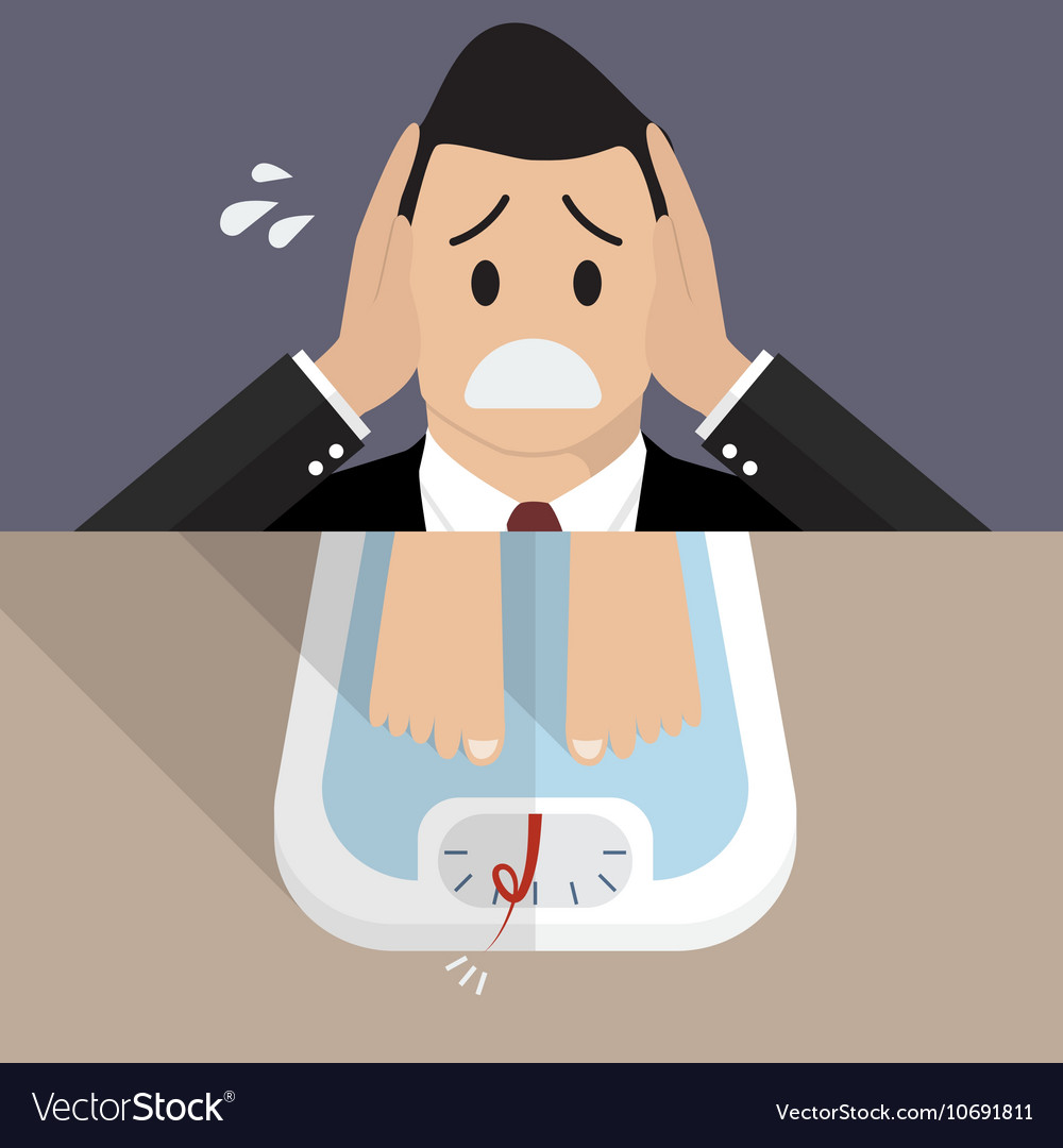 Stressed overweight man on weight scale vector