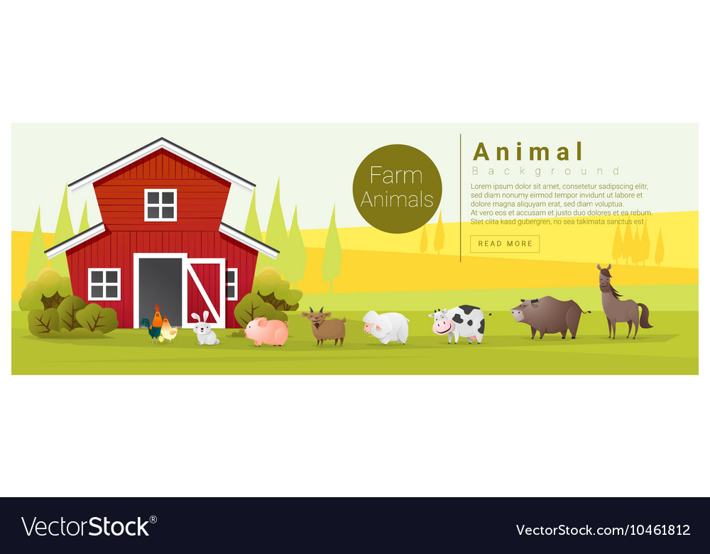Rural landscape and farm animal background vector