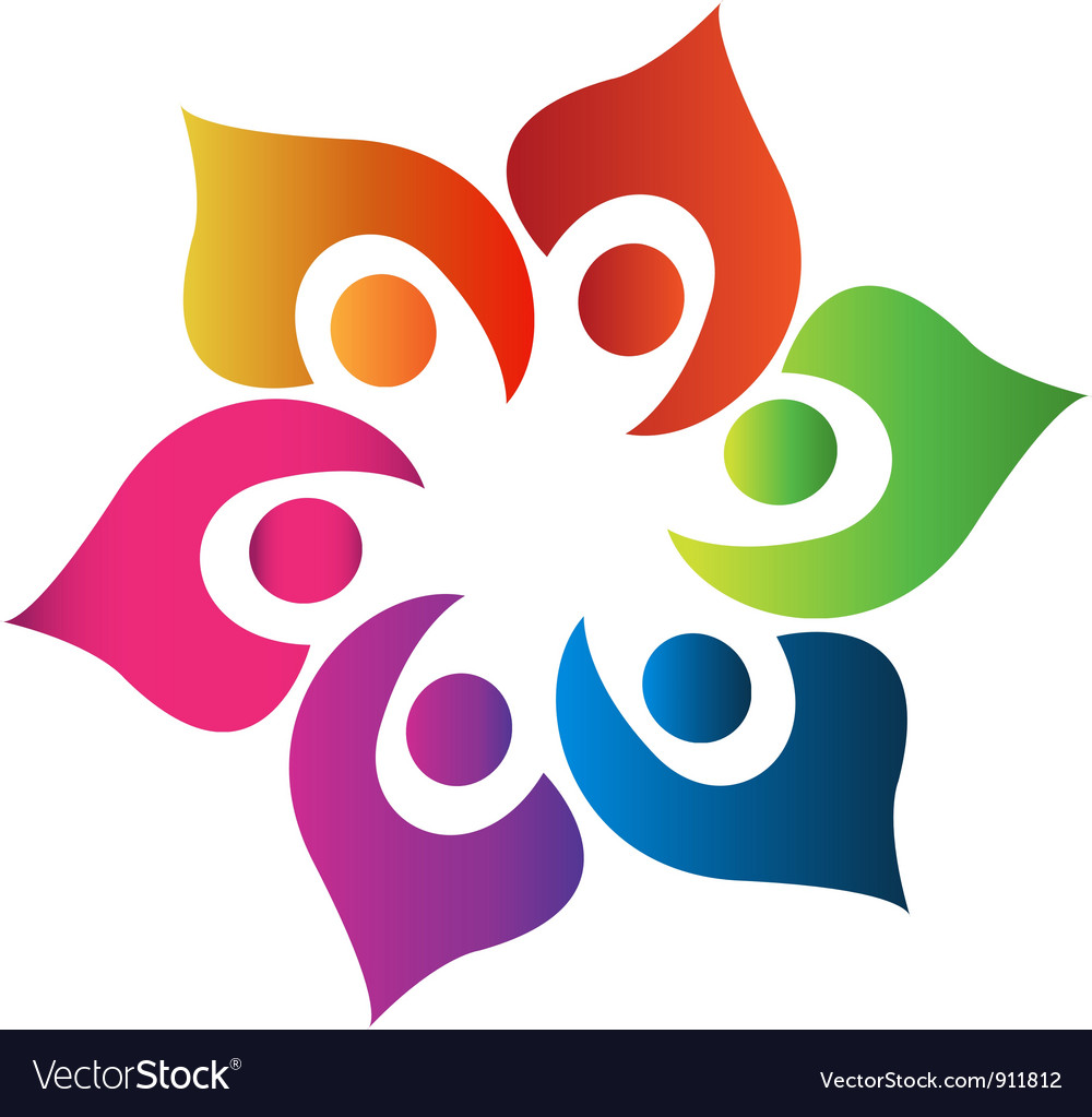 Teamwork people united logo vector