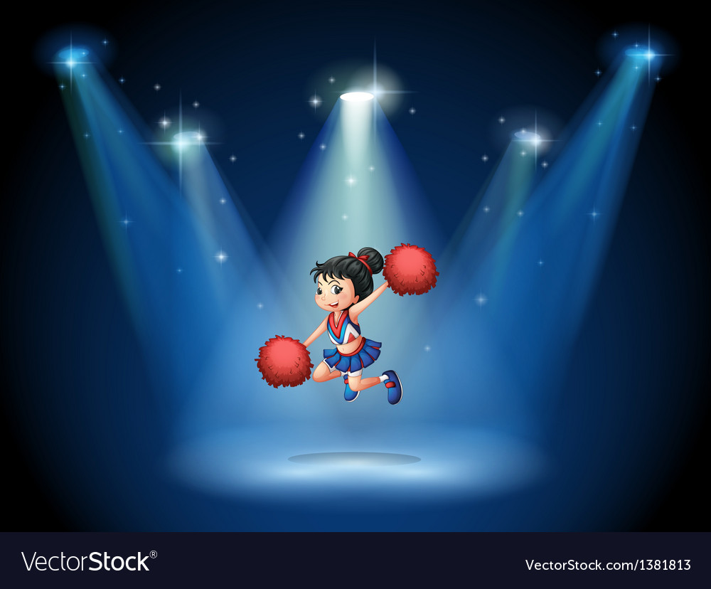 A cheerleader jumping in the middle of the stage vector